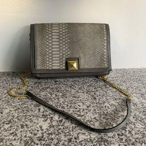 Neiman Marcus Grey Reptile Clutch Shoulder bag